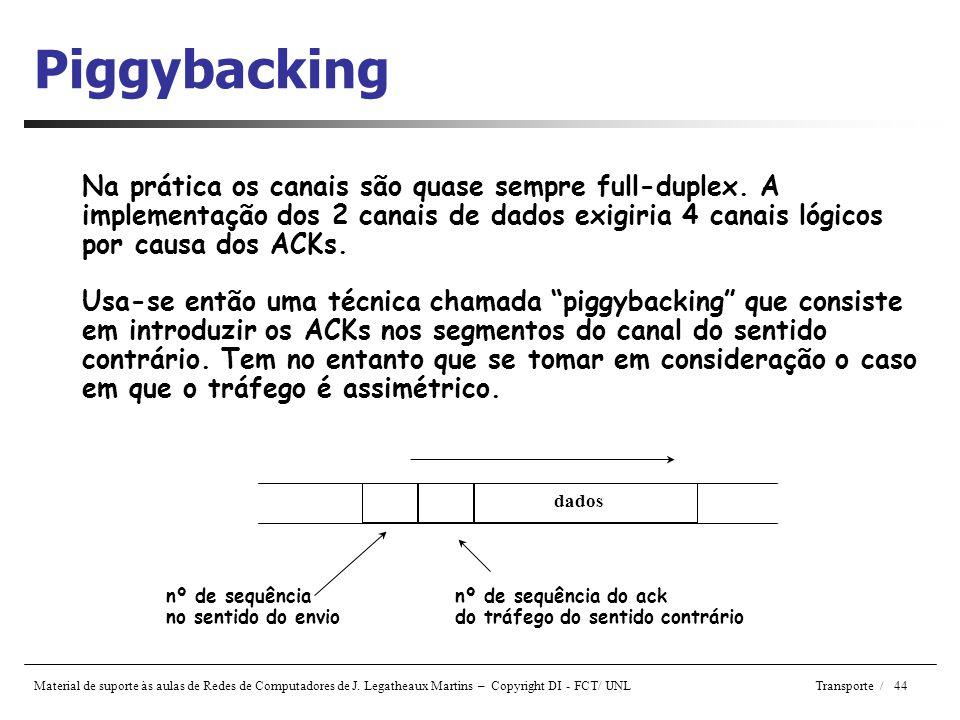 Piggybacking Na prática os canais são quase sempre full-duplex. A implementação dos 2 canais de dados exigiria 4 canais lógicos por causa dos ACKs.