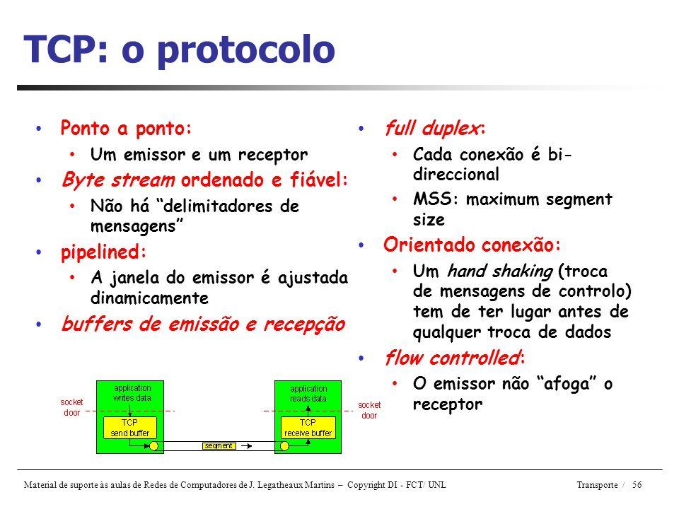 TCP: o protocolo Ponto a ponto: Byte stream ordenado e fiável: