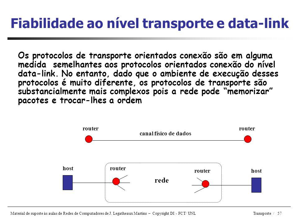 Fiabilidade ao nível transporte e data-link