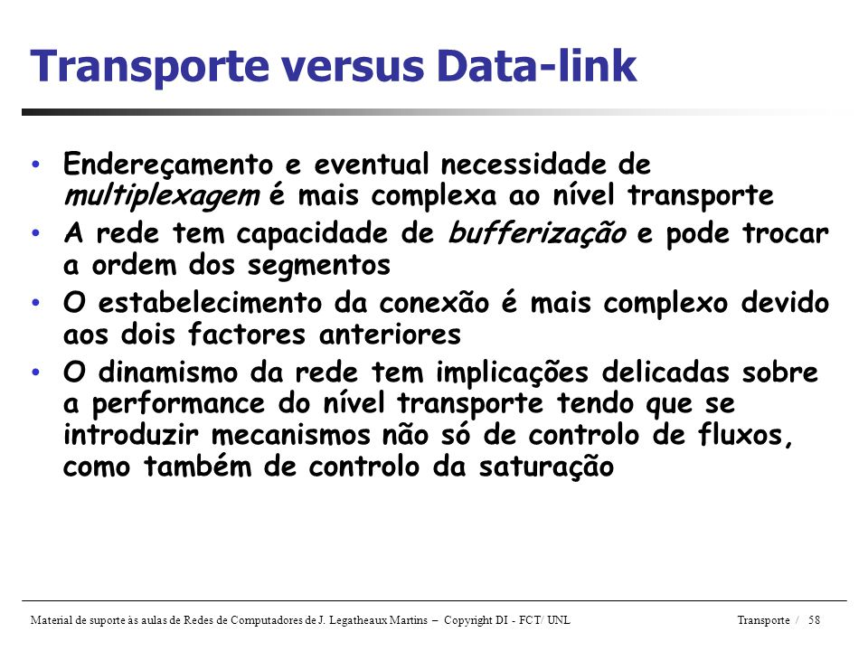 Transporte versus Data-link