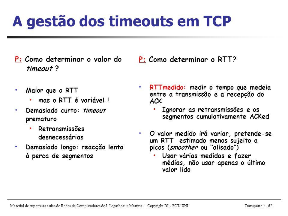 A gestão dos timeouts em TCP