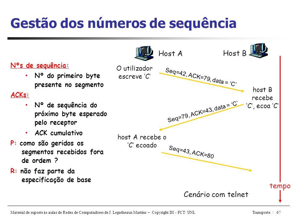 Gestão dos números de sequência