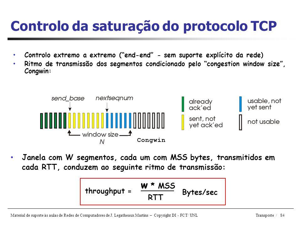 Controlo da saturação do protocolo TCP