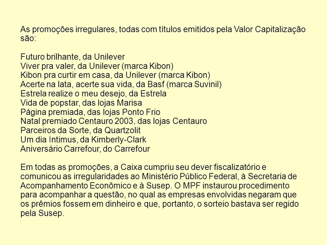 As promoções irregulares, todas com títulos emitidos pela Valor Capitalização são: