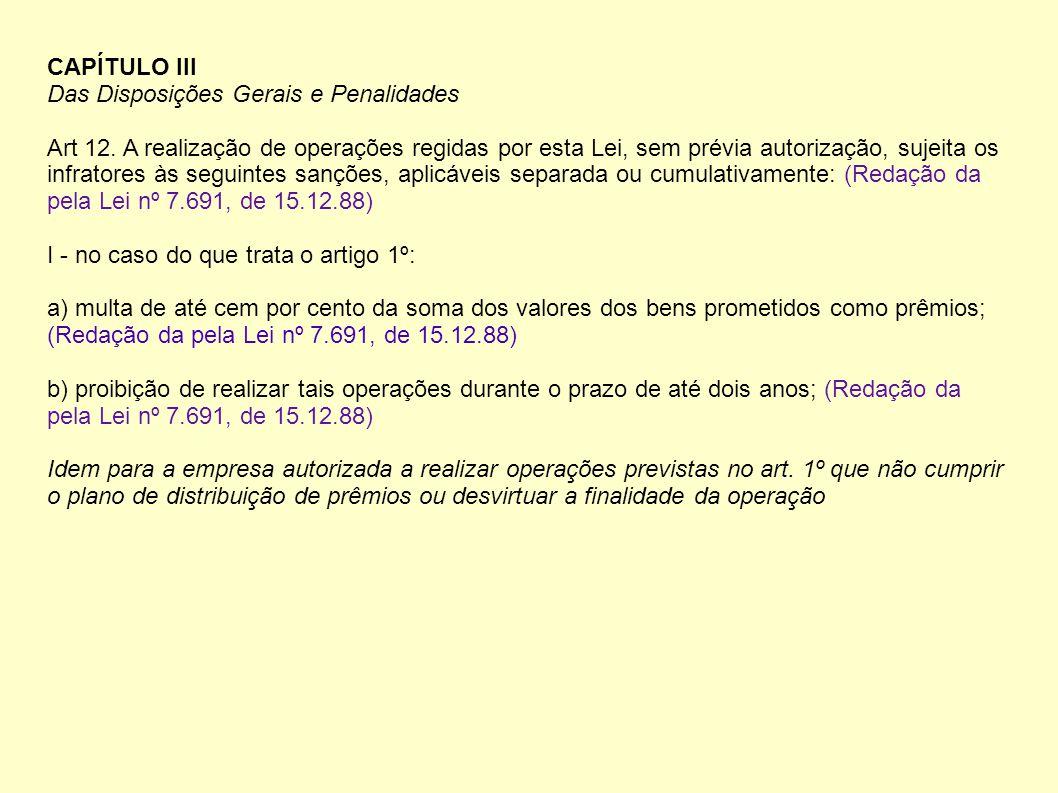 CAPÍTULO III Das Disposições Gerais e Penalidades.