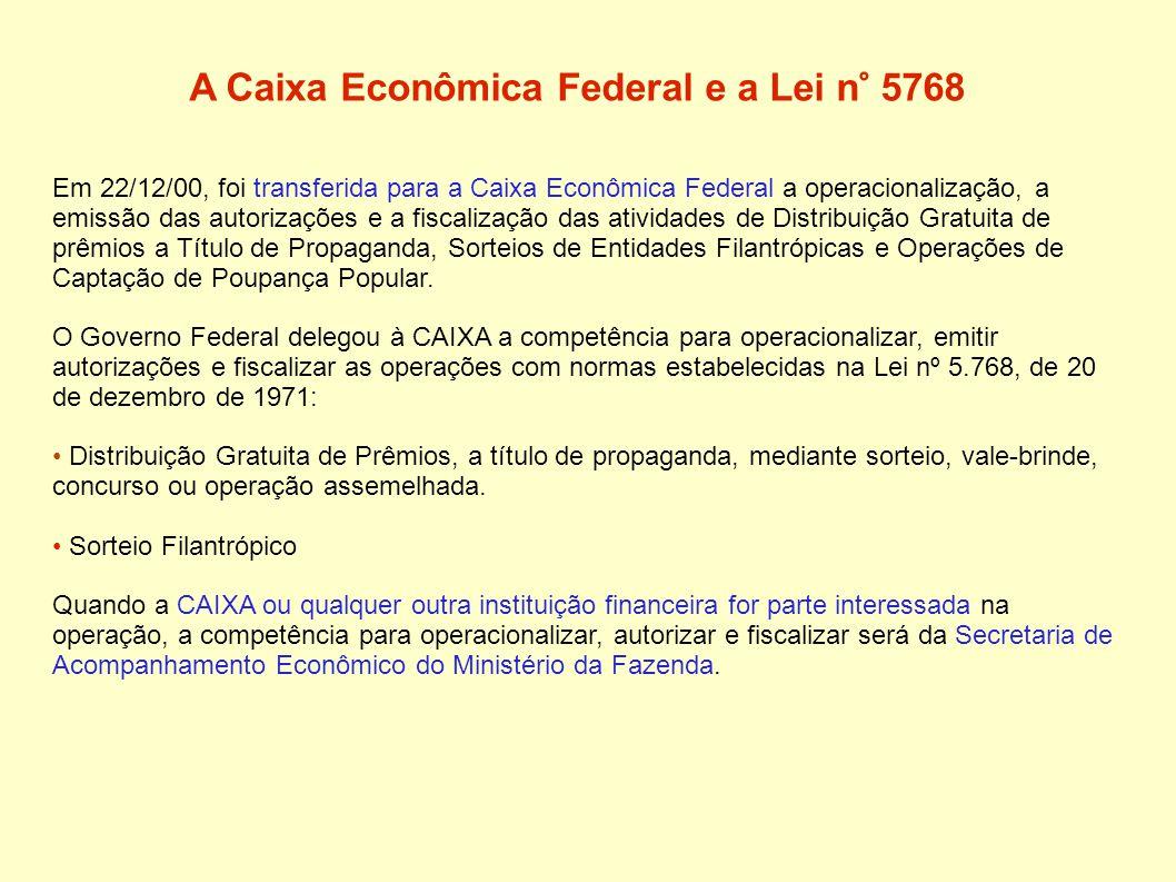 A Caixa Econômica Federal e a Lei n° 5768