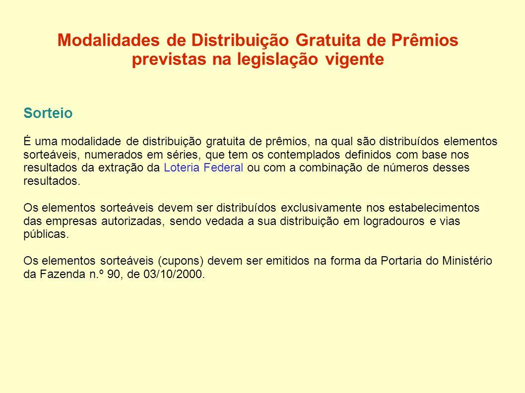 Modalidades de Distribuição Gratuita de Prêmios previstas na legislação vigente