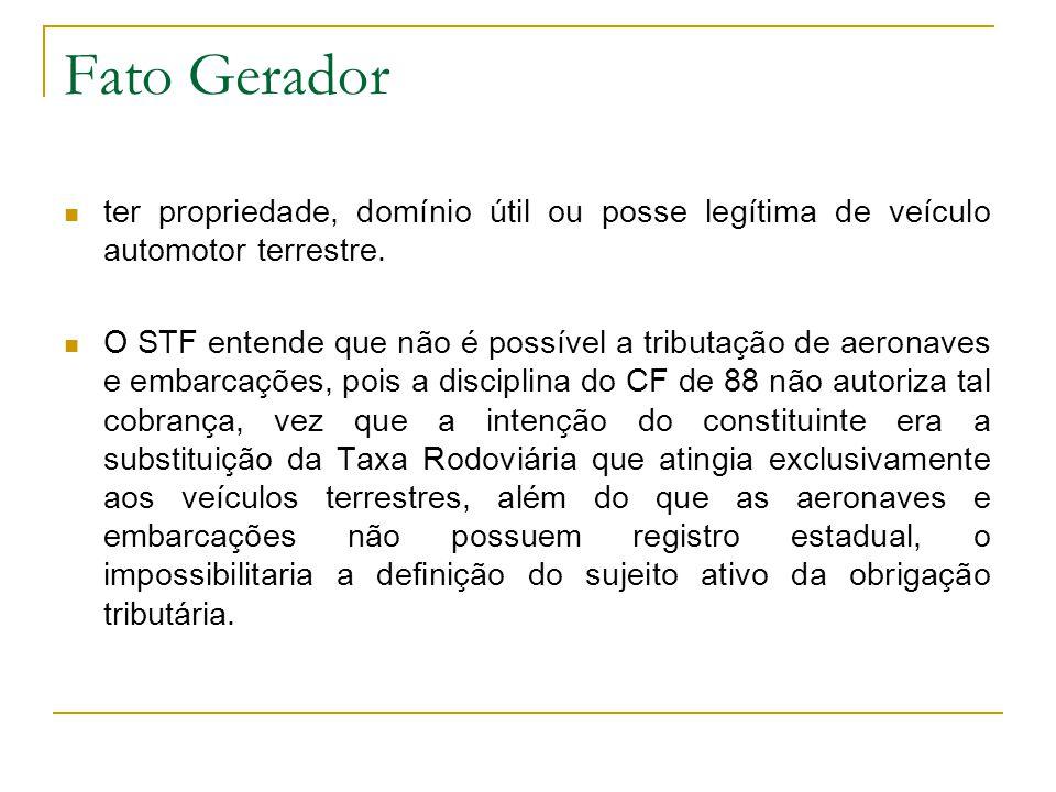 Fato Gerador ter propriedade, domínio útil ou posse legítima de veículo automotor terrestre.