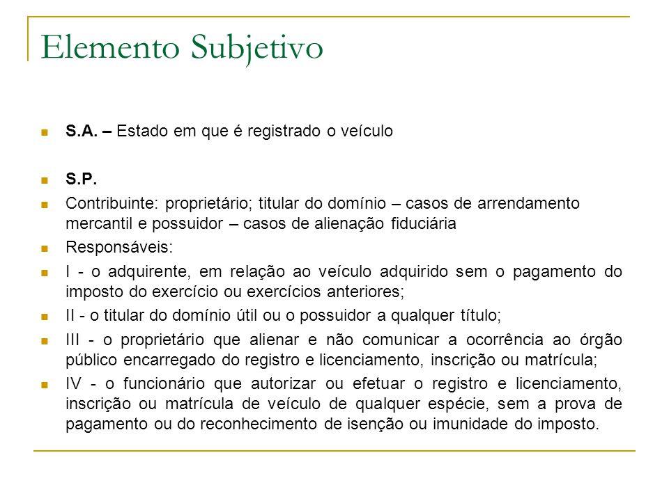 Elemento Subjetivo S.A. – Estado em que é registrado o veículo S.P.