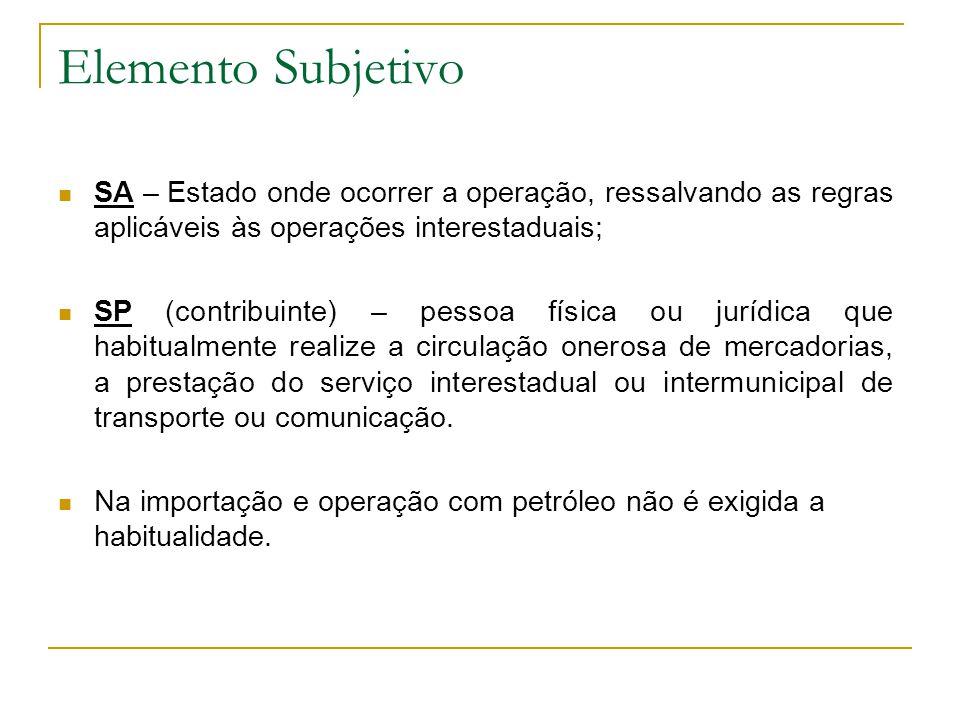 Elemento Subjetivo SA – Estado onde ocorrer a operação, ressalvando as regras aplicáveis às operações interestaduais;