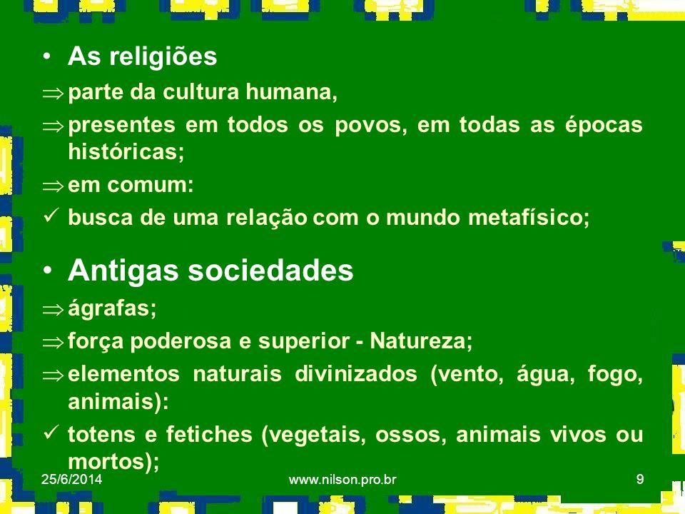 Antigas sociedades As religiões parte da cultura humana,