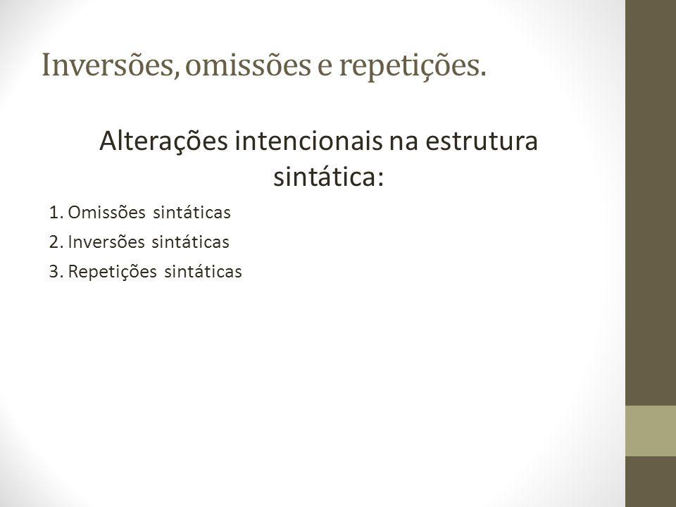 Inversões, omissões e repetições.