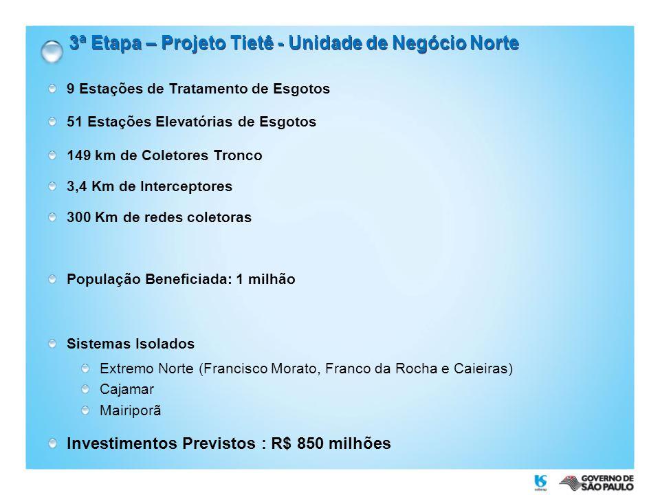 3ª Etapa – Projeto Tietê - Unidade de Negócio Norte