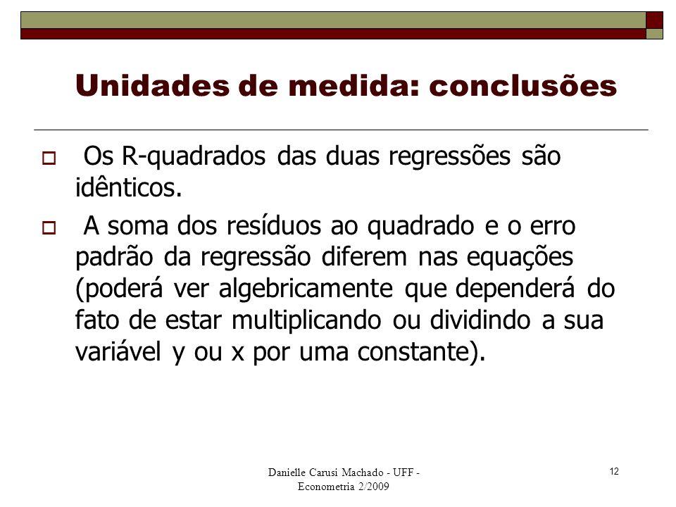 Unidades de medida: conclusões