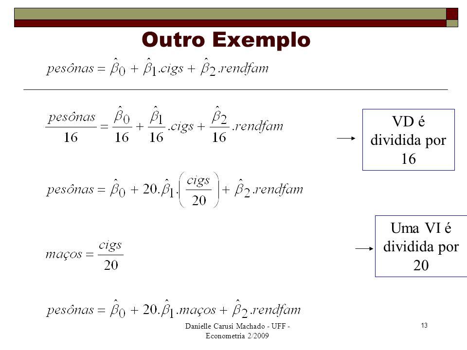 Outro Exemplo VD é dividida por 16 Uma VI é dividida por 20