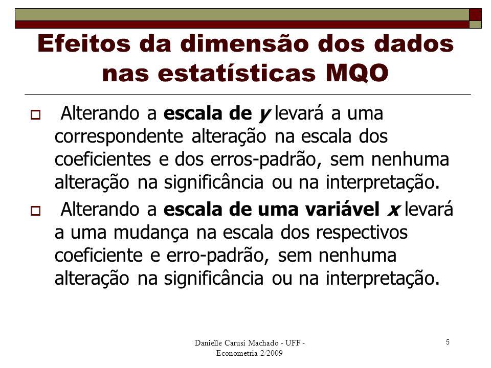 Efeitos da dimensão dos dados nas estatísticas MQO