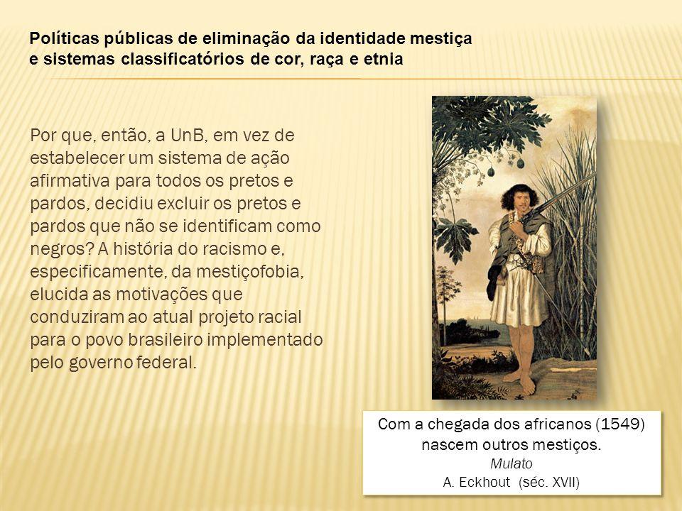 Com a chegada dos africanos (1549) nascem outros mestiços.