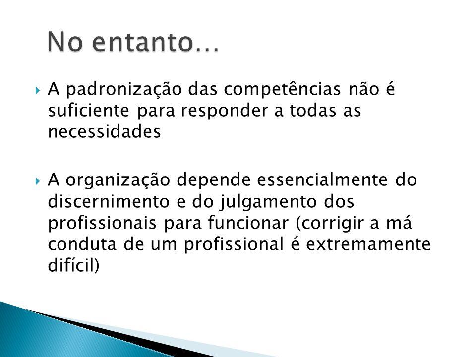 No entanto… A padronização das competências não é suficiente para responder a todas as necessidades.