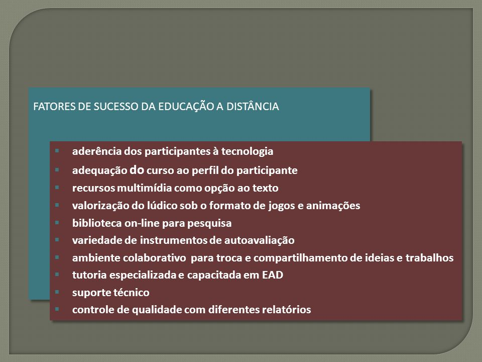 FATORES DE SUCESSO DA EDUCAÇÃO A DISTÂNCIA