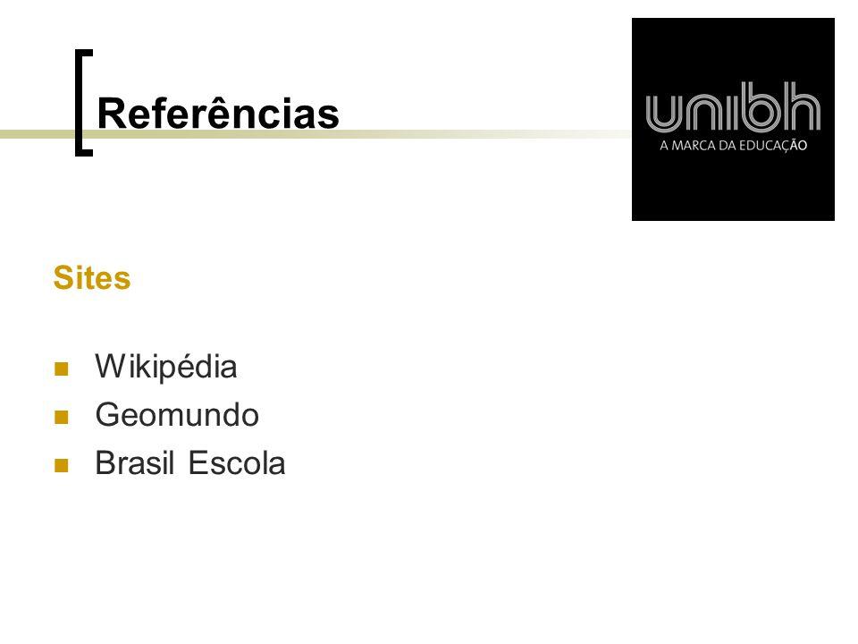 Referências Sites Wikipédia Geomundo Brasil Escola