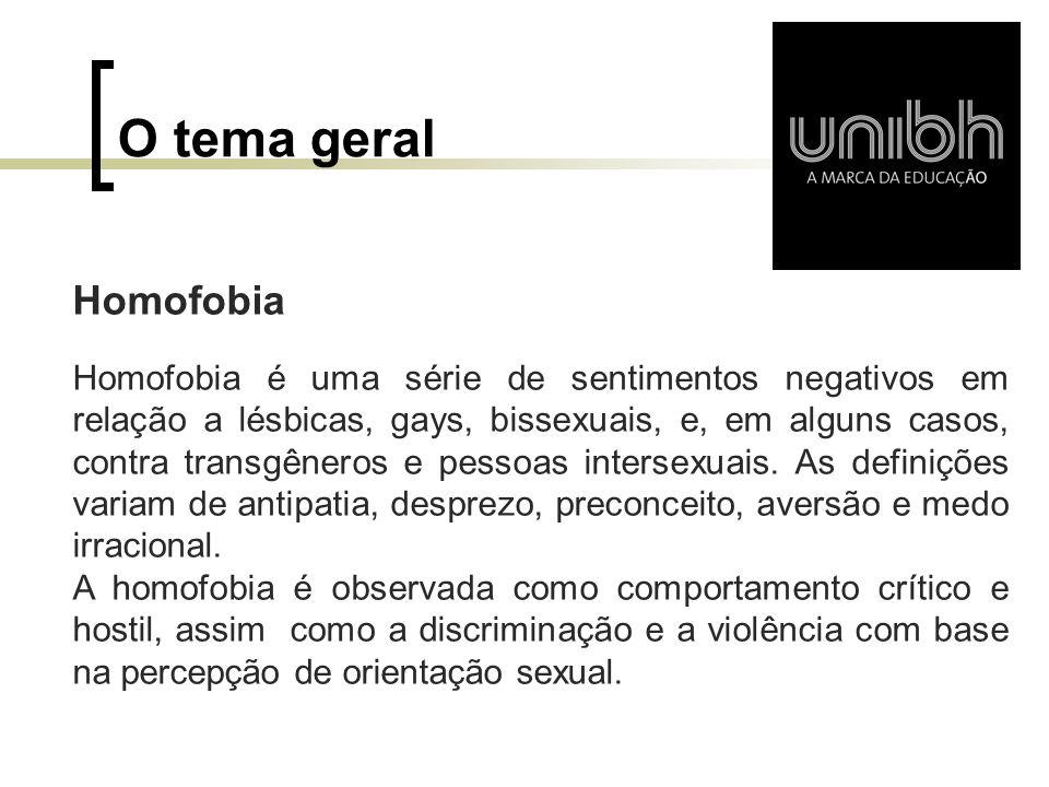 O tema geral Homofobia.