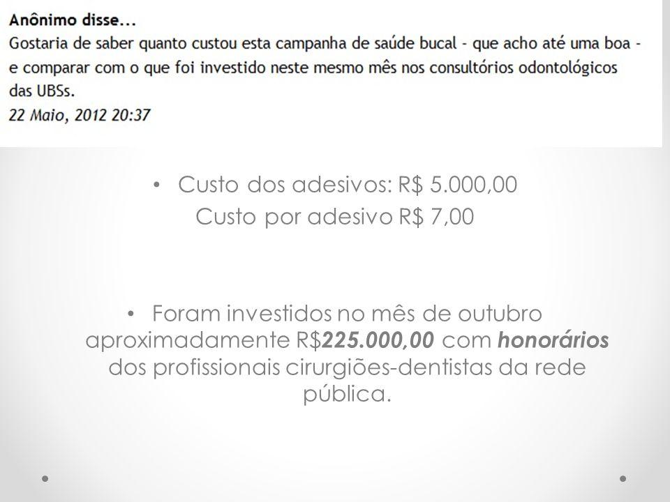 Custo dos adesivos: R$ 5.000,00 Custo por adesivo R$ 7,00.