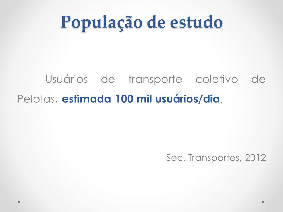 População de estudo Usuários de transporte coletivo de Pelotas, estimada 100 mil usuários/dia.