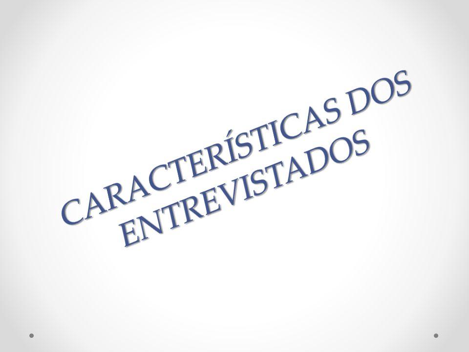 CARACTERÍSTICAS DOS ENTREVISTADOS