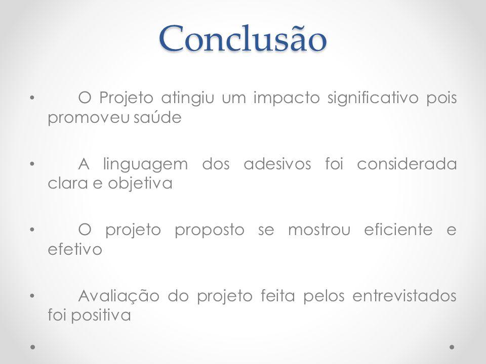 Conclusão O Projeto atingiu um impacto significativo pois promoveu saúde. A linguagem dos adesivos foi considerada clara e objetiva.