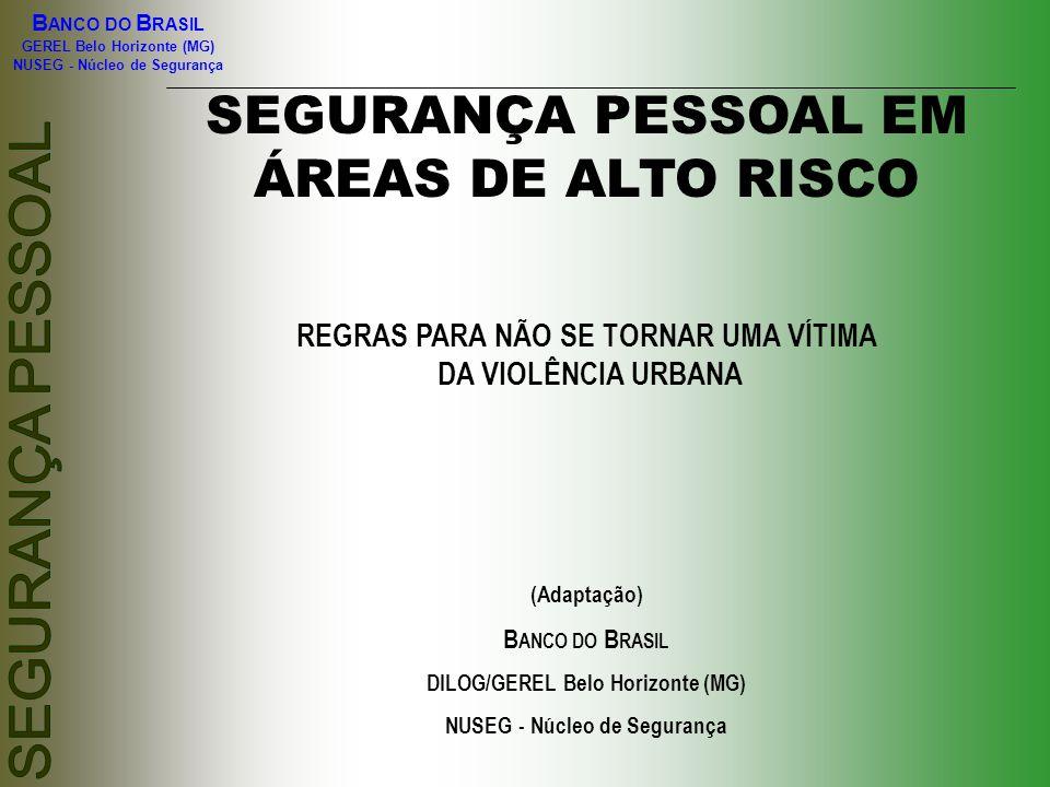 SEGURANÇA PESSOAL EM ÁREAS DE ALTO RISCO