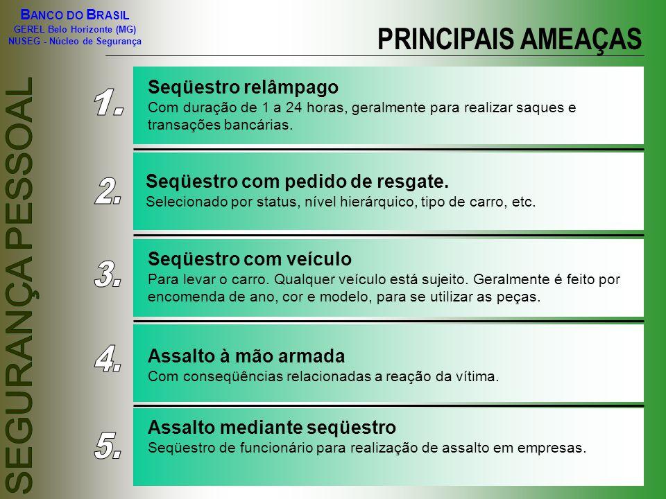 PRINCIPAIS AMEAÇAS Seqüestro relâmpago 1.