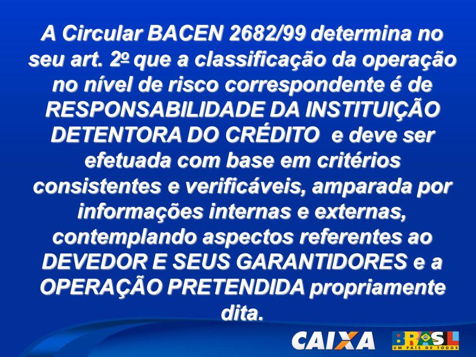 A Circular BACEN 2682/99 determina no seu art