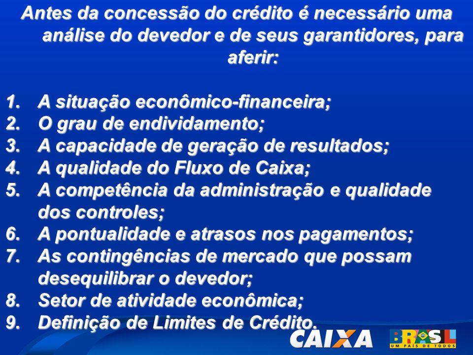 Antes da concessão do crédito é necessário uma análise do devedor e de seus garantidores, para aferir: