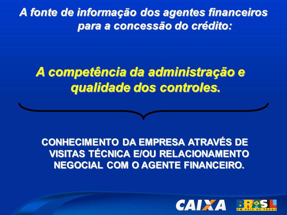 A competência da administração e qualidade dos controles.