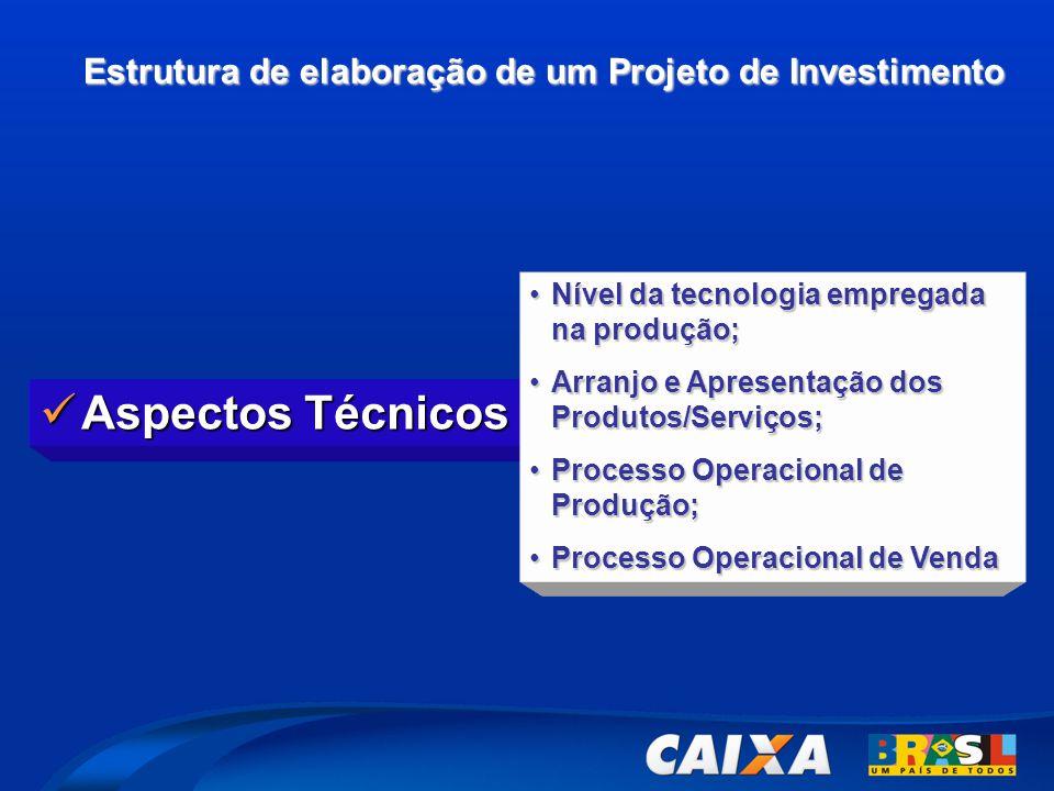 Estrutura de elaboração de um Projeto de Investimento