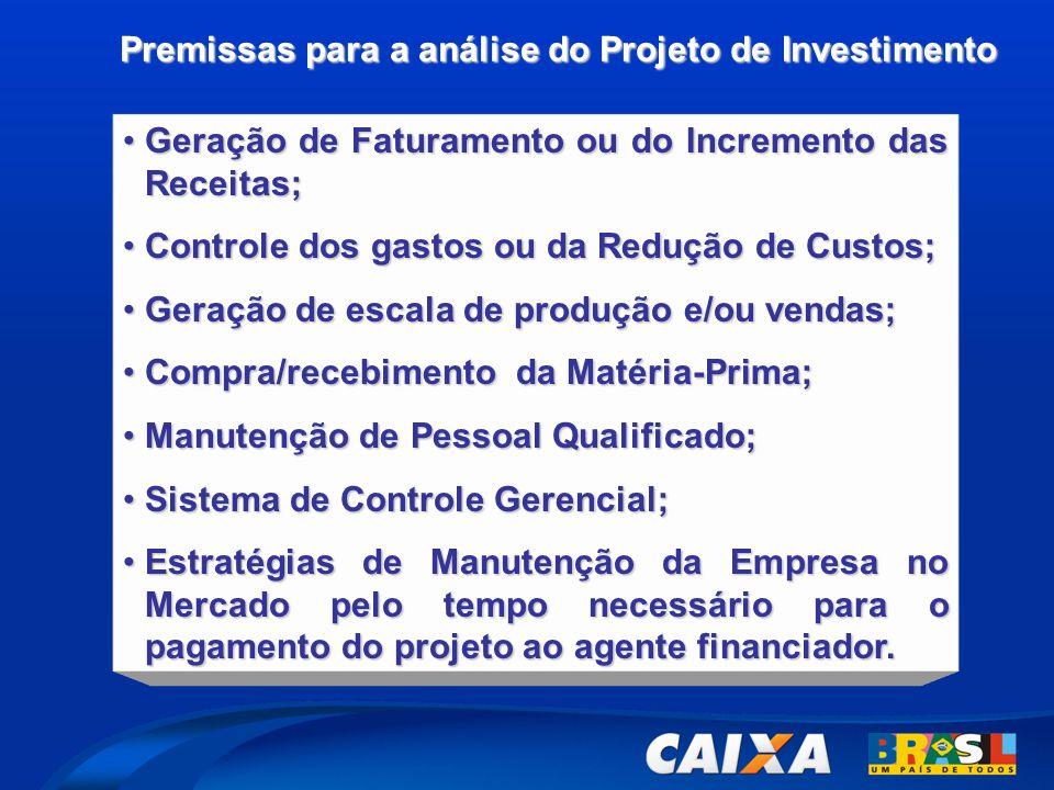 Premissas para a análise do Projeto de Investimento