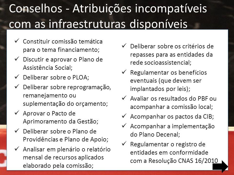 Conselhos - Atribuições incompatíveis com as infraestruturas disponíveis