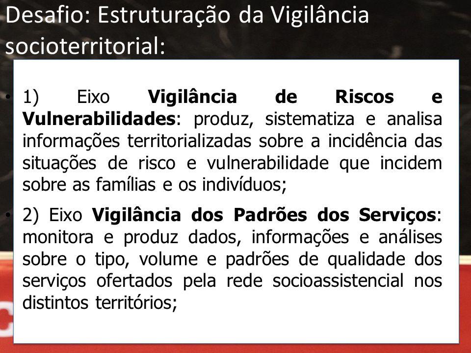 Desafio: Estruturação da Vigilância socioterritorial: