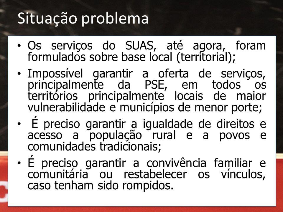 Situação problema Os serviços do SUAS, até agora, foram formulados sobre base local (territorial);