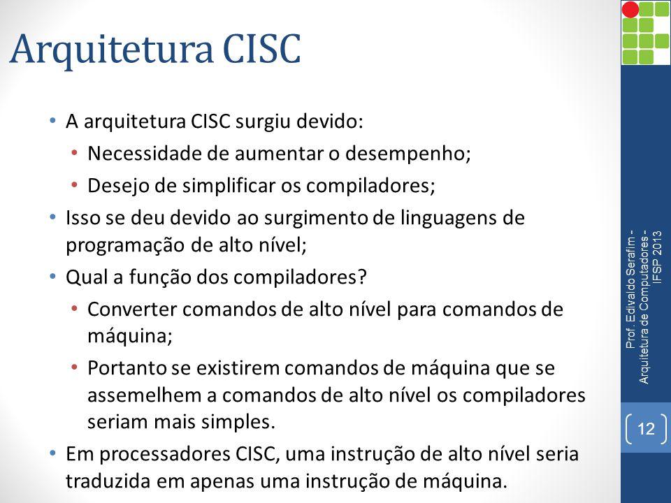 Arquitetura CISC A arquitetura CISC surgiu devido: