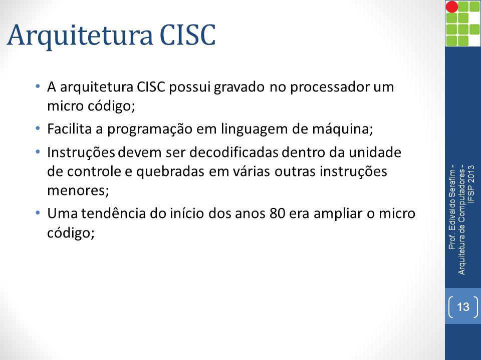 Arquitetura CISC A arquitetura CISC possui gravado no processador um micro código; Facilita a programação em linguagem de máquina;