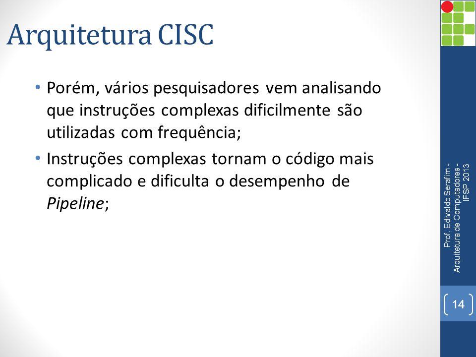 Arquitetura CISC Porém, vários pesquisadores vem analisando que instruções complexas dificilmente são utilizadas com frequência;