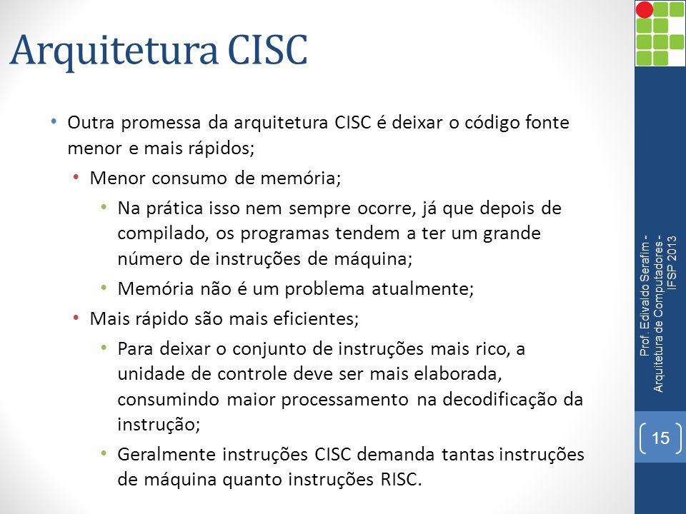 Arquitetura CISC Outra promessa da arquitetura CISC é deixar o código fonte menor e mais rápidos; Menor consumo de memória;