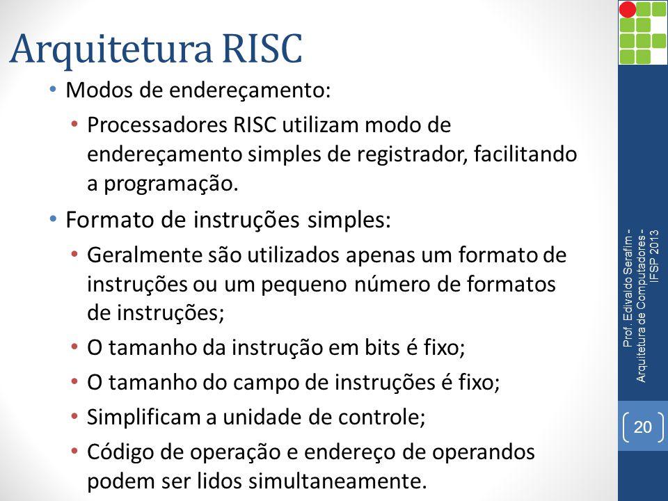 Arquitetura RISC Formato de instruções simples: