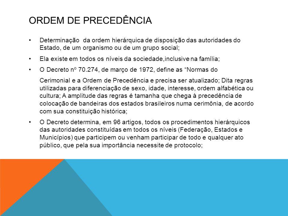 ORDEM DE PRECEDÊNCIA Determinação da ordem hierárquica de disposição das autoridades do Estado, de um organismo ou de um grupo social;