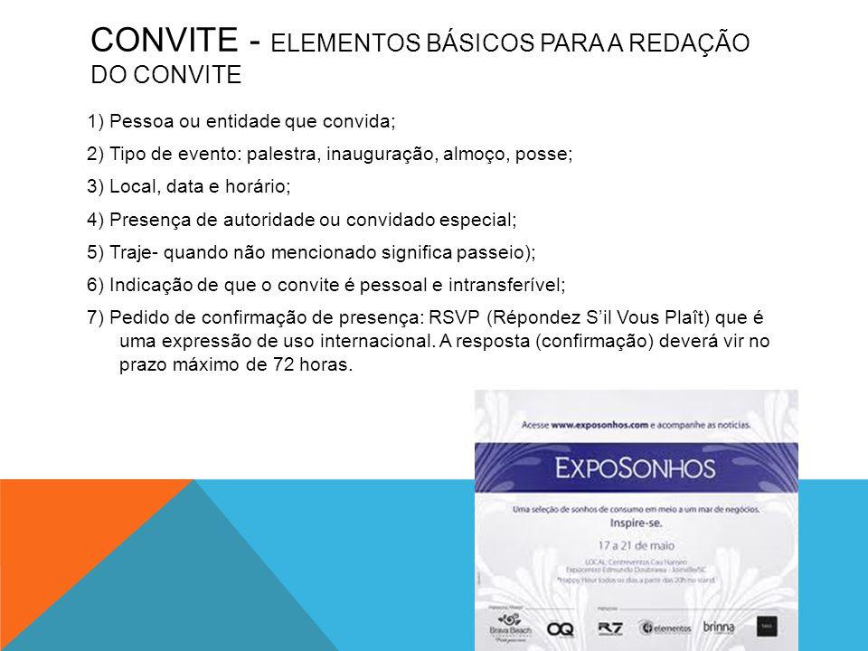 CONVITE - ELEMENTOS BÁSICOS PARA A REDAÇÃO DO CONVITE