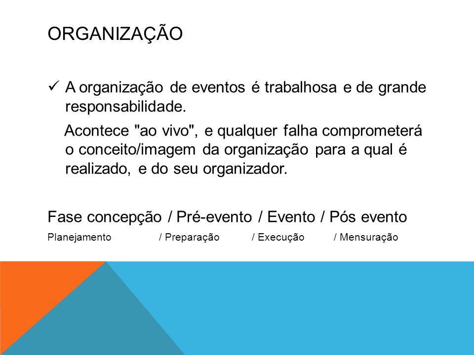 ORGANIZAÇÃO A organização de eventos é trabalhosa e de grande responsabilidade.