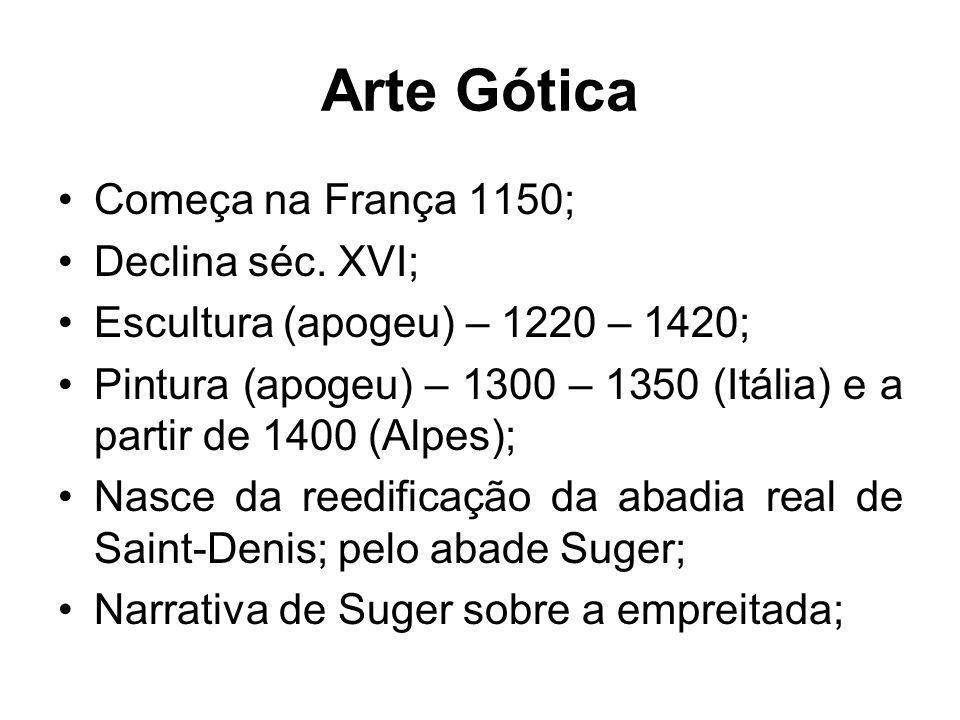 Arte Gótica Começa na França 1150; Declina séc. XVI;
