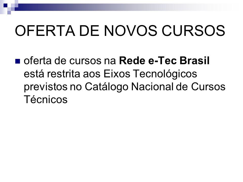 OFERTA DE NOVOS CURSOS oferta de cursos na Rede e-Tec Brasil está restrita aos Eixos Tecnológicos previstos no Catálogo Nacional de Cursos Técnicos.