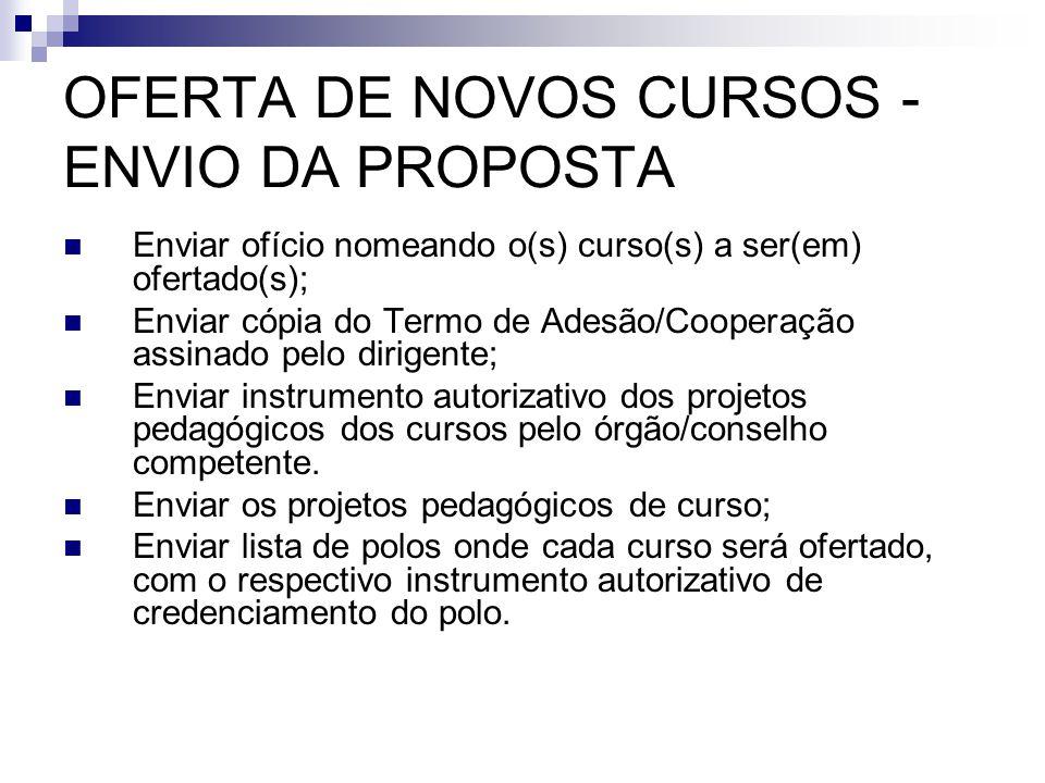 OFERTA DE NOVOS CURSOS - ENVIO DA PROPOSTA